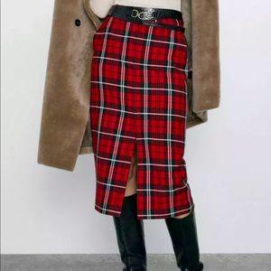 Zara Plaid Tartan Skirt Front Slit Size Small
